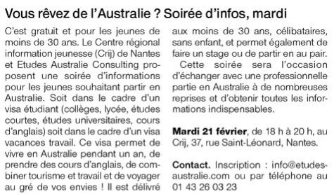 Ouest France du 20 fevrier 2017 page Loire Atlantique