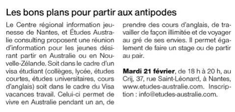 Ouest France du 20 fevrier 2017 page Nante Metropole